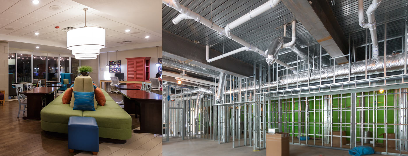 Interior lobby and construction of Home 2 Suites hotel in Houston
