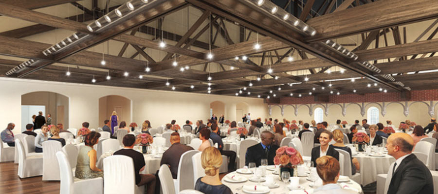 event space under the soaring mansard roof
