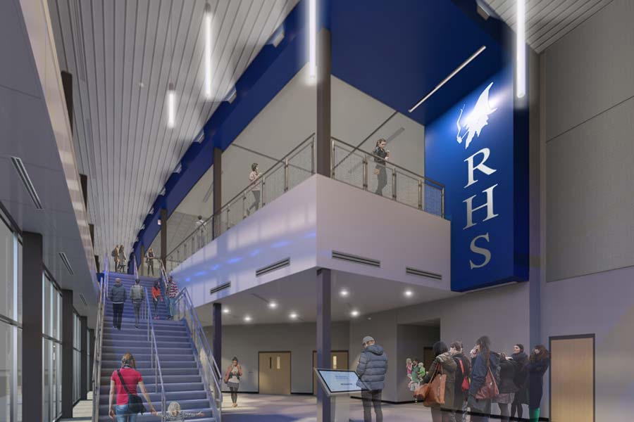 Rogers High School interior arena entry