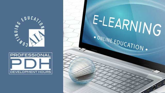 Laptop with E-Learning on the screen AIA and PDH logos