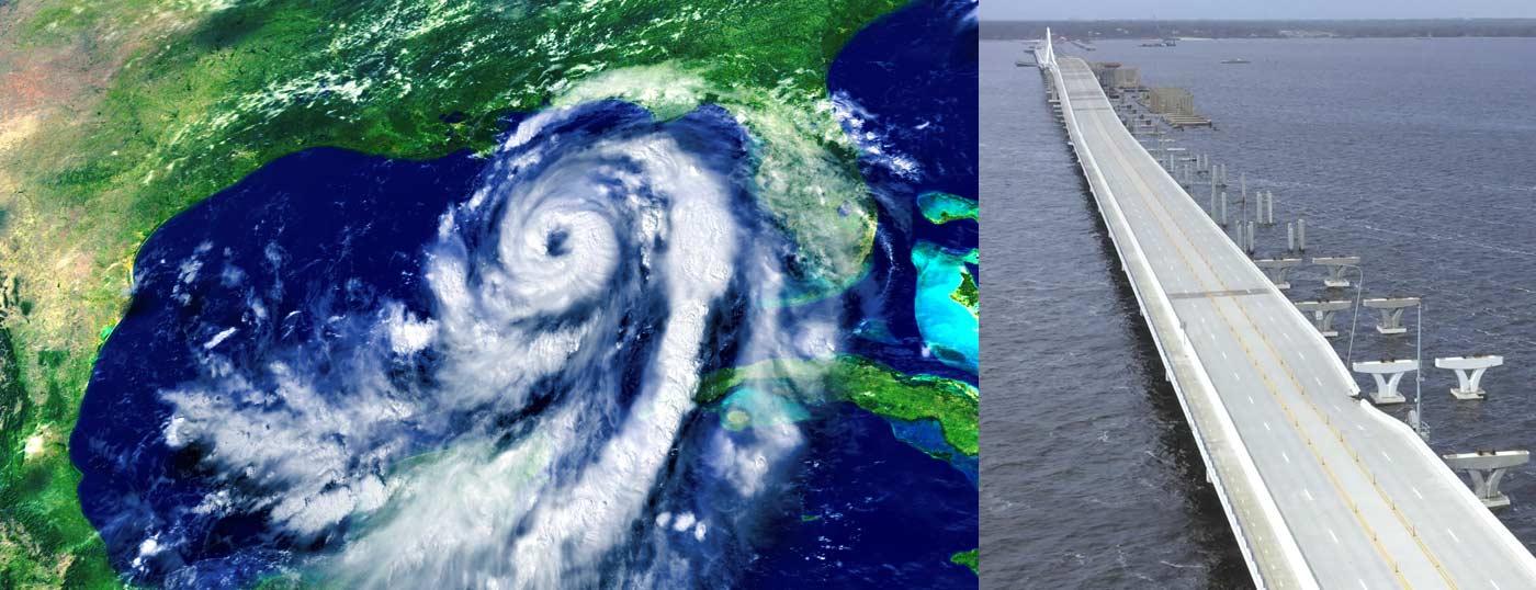 Radar of hurricane Sally over Florida Gulf coast on left. Pensacola Bay Bridge