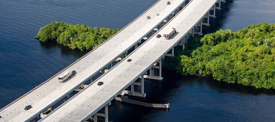 Rhino-Dek Caloosahatchee bridge aerial view