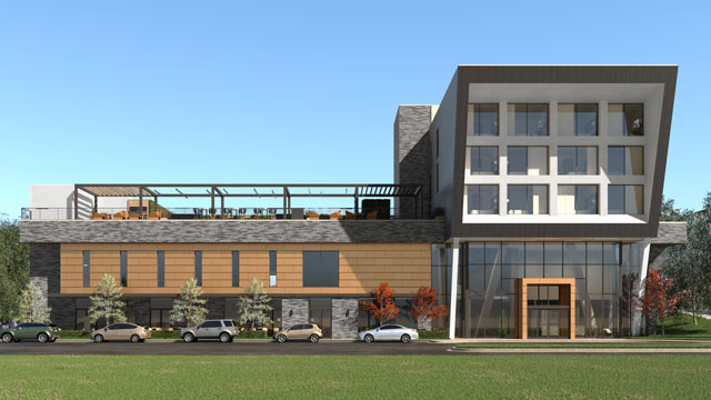 Architects rendering of Ellison hotel exterior