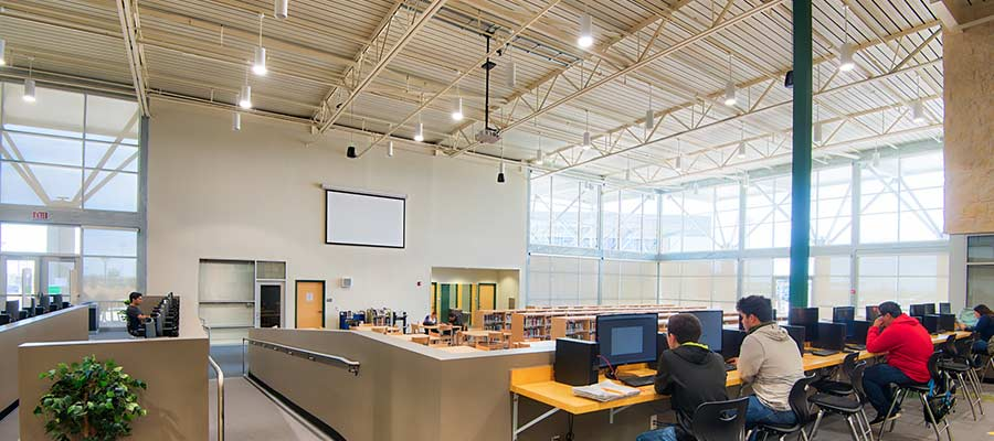 School library with acoustical roof deck